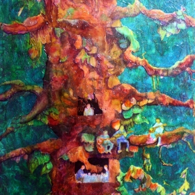 Branch Family, showing people living in a tree, a painting by Wayne Williams