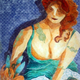Woman with the Green Tattoos, a painting by Wayne Williams