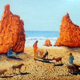 on a beach in Portugal, a painting by Wayne Williams